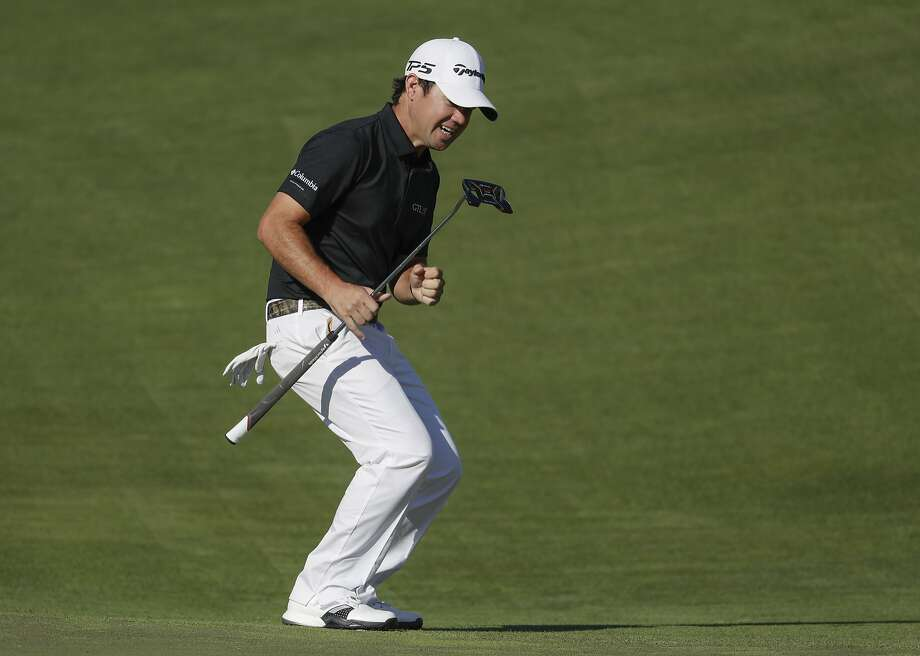 Brian Harman reacts after missing a birdie putt on the 12th hole. Harman finished in a tie for second. Photo: Chris Carlson, Associated Press