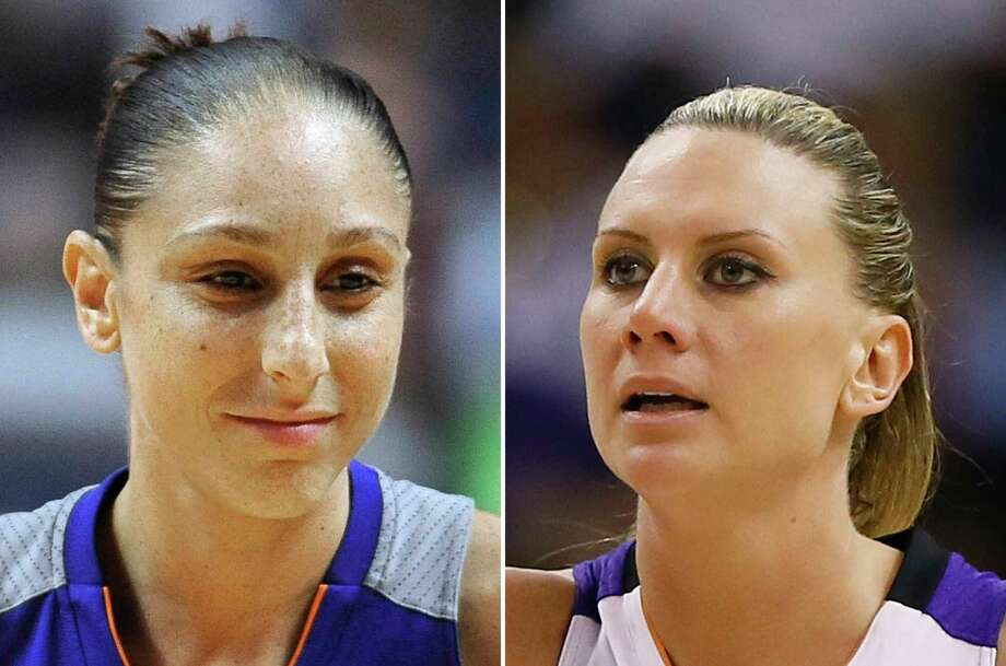 FILE - At left, in a Sept. 2, 2016, file photo, Phoenix Mercury's Diana Taurasi is shown during the second half of a WNBA basketball game in Uncasville, Conn. At right, in a Sept. 9, 2014, file photo, Phoenix Mercury forward Penny Taylor is shown during the second half of  Game 2 of the WNBA basketball finals against the Chicago Sky in Phoenix. Diana Taurasi has married former Phoenix Mercury teammate Penny Taylor, then played in the team's season opener less than 24 hours later. The couple married Saturday, May 13, 2017. (AP Photo/File) Photo: STF FRE / AP