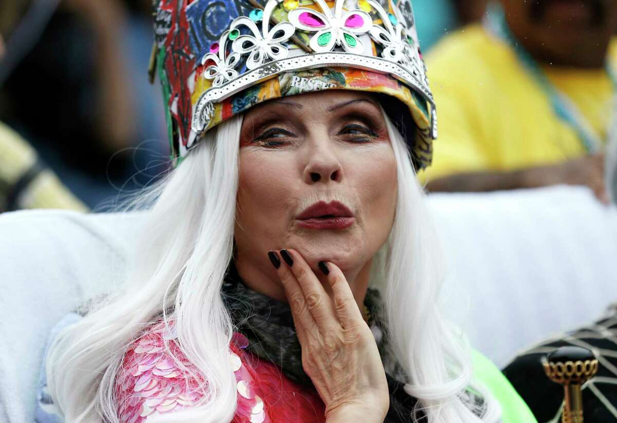 Parade Grand Marshall Deborah Harry cheers with the crowd on Saturday, June 17, 2017, during the 35th Annual Mermaid Parade, in New York's Coney Island. (AP Photo/Michael Noble Jr.) ORG XMIT: NYMN109