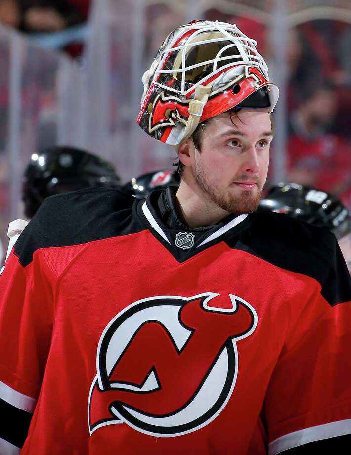 NEWARK, NJ - DECEMBER 19:  Keith Kinkaid #1 of the New Jersey Devils heads back to the net during a stop in play in the third period against the Anaheim Ducks on December 19, 2015 at Prudential Center in Newark, New Jersey.The Anaheim Ducks defeated the New Jersey Devils 2-1.  (Photo by Elsa/Getty Images) ORG XMIT: 574713397 Photo: Elsa / 2015 Getty Images