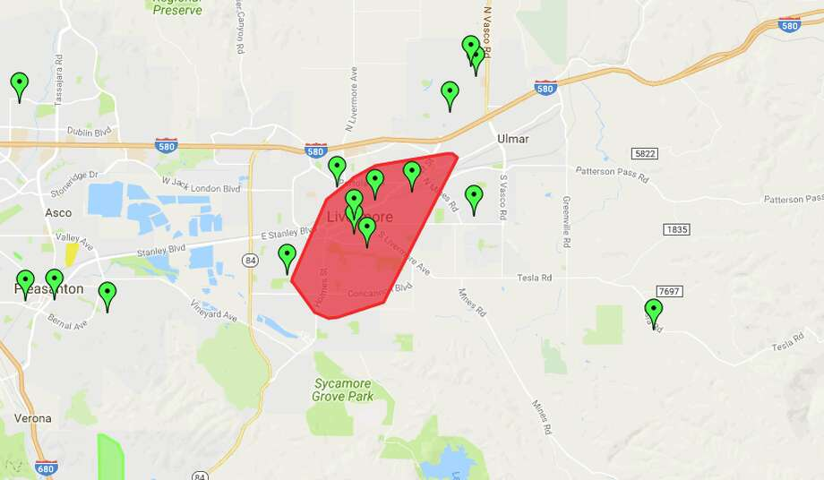 PG&E map shows affected area of power outage in Livermore. Photo: Outage Map Screenshot