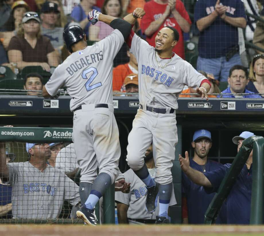 Boston Red Sox shortstop Xander Bogaerts (2) and Mookie Betts (50) celebrate his second home run of the night during the top sixth inning of the game at Minute Maid Park Sunday, June 18, 2017, in Houston. ( Yi-Chin Lee / Houston Chronicle ) Photo: Yi-Chin Lee/Houston Chronicle