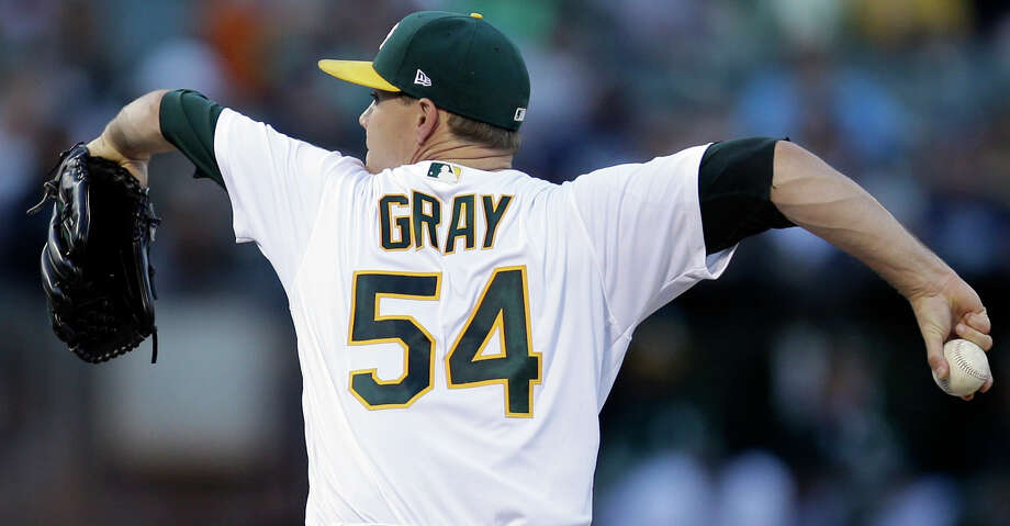 Oakland Athletics pitcher Sonny Gray works against the New York Yankees during the first inning of a baseball game Thursday, June 15, 2017, in Oakland, Calif. (AP Photo/Ben Margot) Photo: Ben Margot/Associated Press