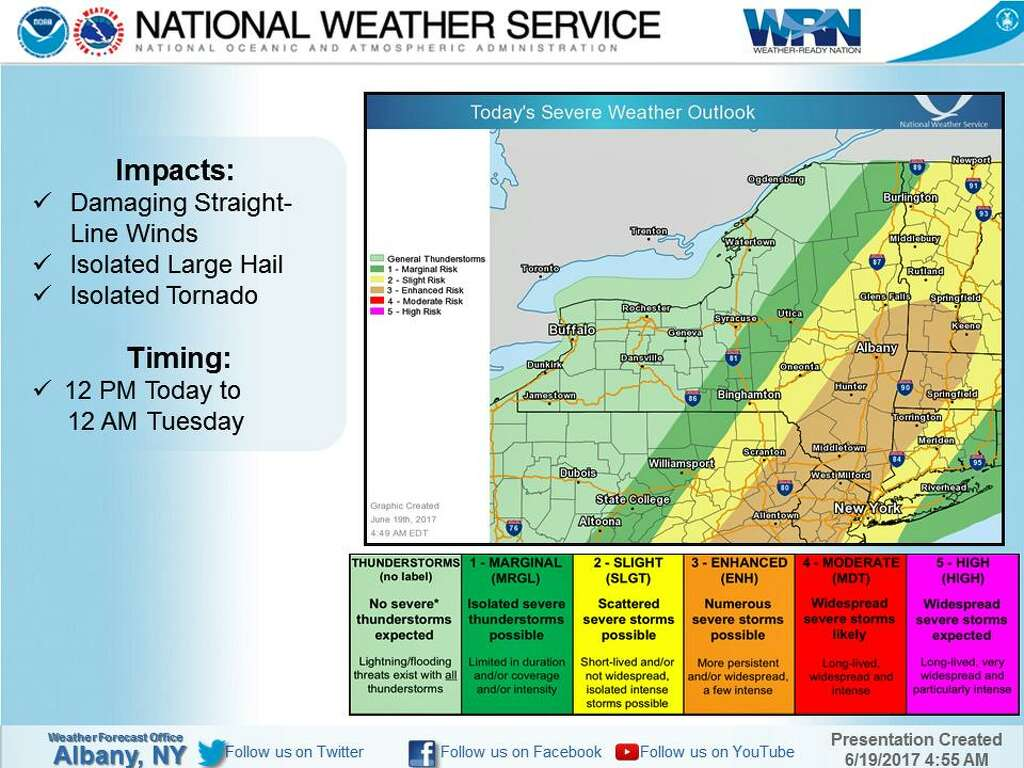 NWS Posts Severe Thunderstorm Watch Connecticut Post - Us thunderstorm map