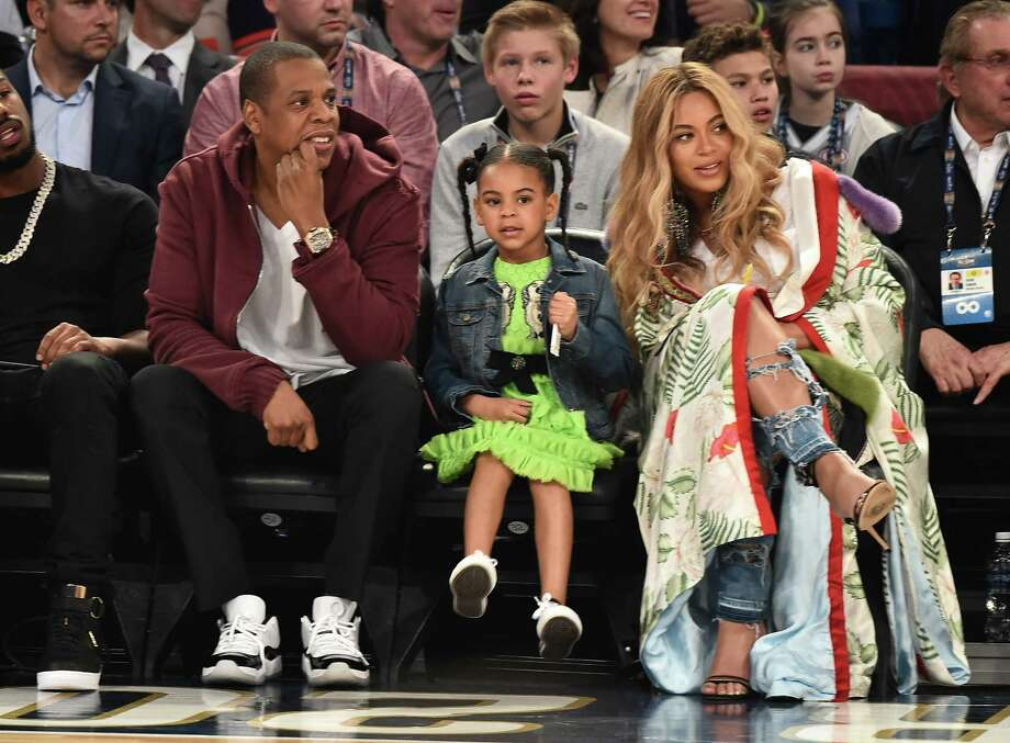 Jay Z, Blue Ivy Carter and Beyonce Knowles attend the 66th NBA All-Star Game at Smoothie King Center on February 19, 2017 in New Orleans, Louisiana. Photo: (Photo By Theo Wargo/Getty Images) / 2017 Getty Images