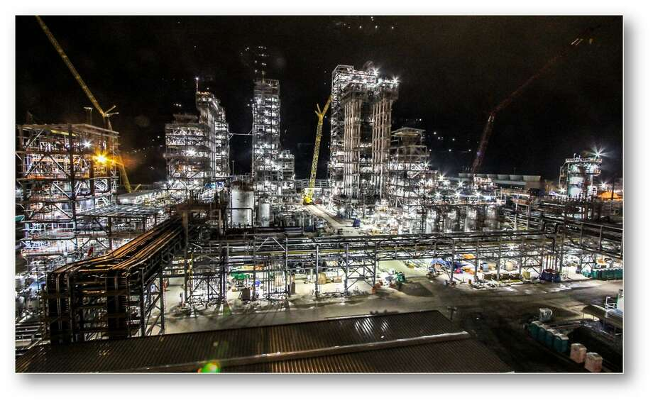 A night photo of construction on Chevron Phillips Chemical's polyethylene plant in Old Ocean in 2017. Photo: Courtesy Chevron Phillips Chemical, Chevron Phillips Chemical
