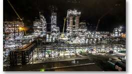 A night photo of construction on Chevron Phillips Chemical's polyethylene plant in Old Ocean in 2017.