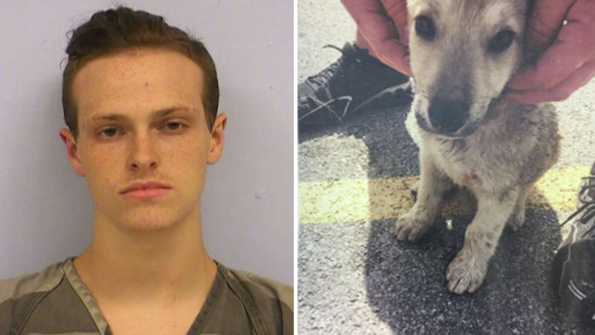 Chandler Bullen seen on the left and the rescued puppy, Annabelle, after being left in a hot car in a Wal-Mart parking lot. (Manor Police Department) >>Here are other things to remember when taking car of pets this summer...