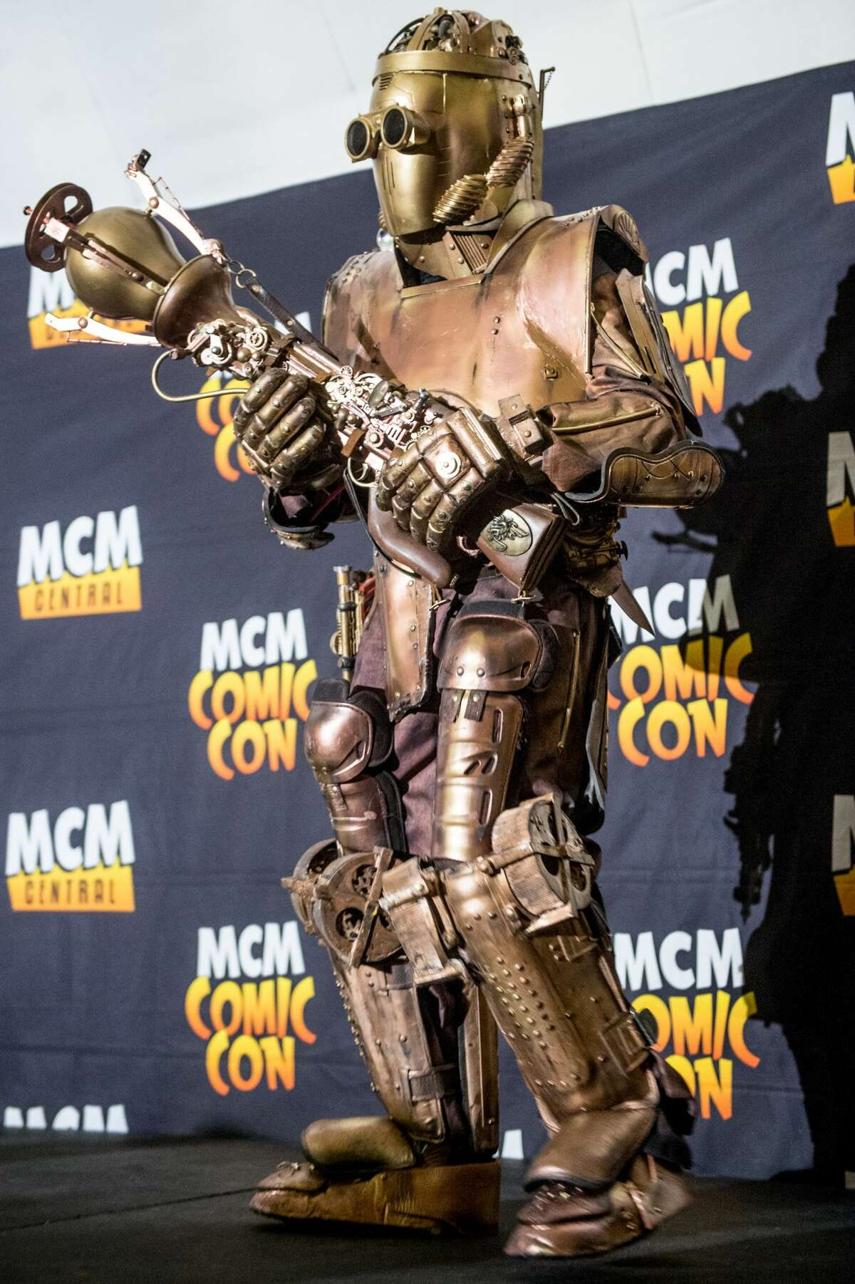 A cosplayer dressed as a Victorian steampunk robot British soldier on day 2 of the November Birmingham MCM Comic Con at the National Exhibition Centre (NEC) in Birmingham, UK on November 20, 2016 in Birmingham, England.