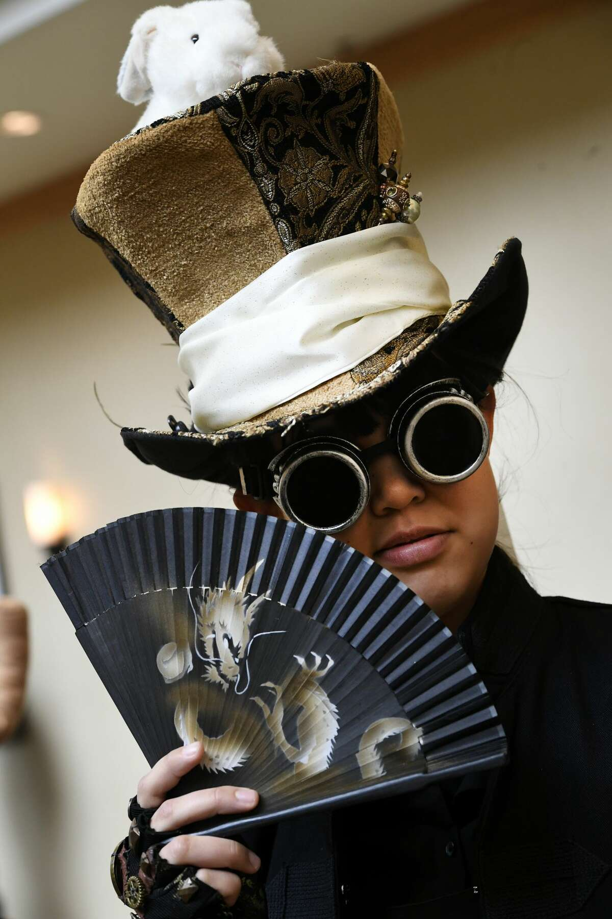 Jennifer Brunkhorst dresses up in steampunk style during the 2nd annual Colorado Anime Festival at the Renaissance Denver Stapleton Hotel on March 26, 2017 in Denver, Colorado.