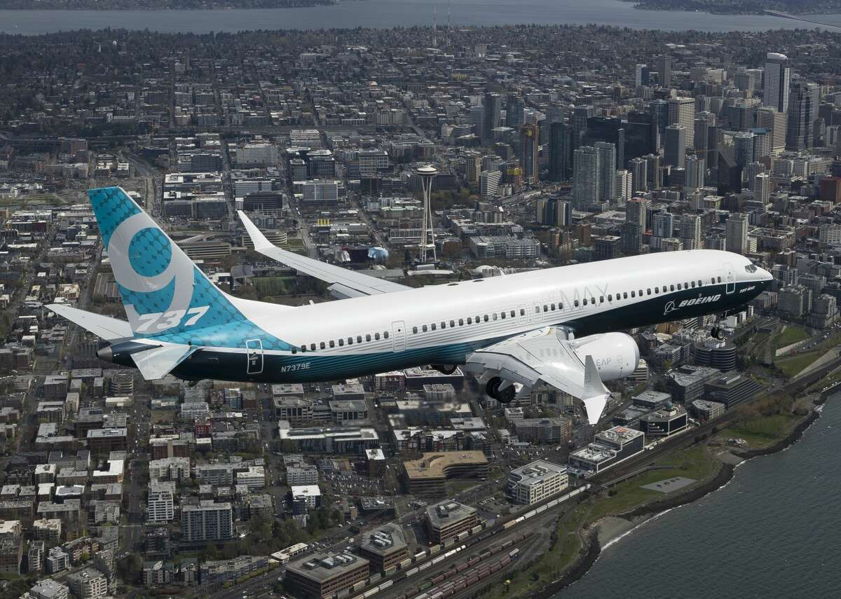 A Boeing 737 MAX 9 is seen during a test flight.