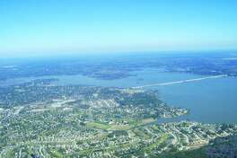 An aerial view of Lake Houston.