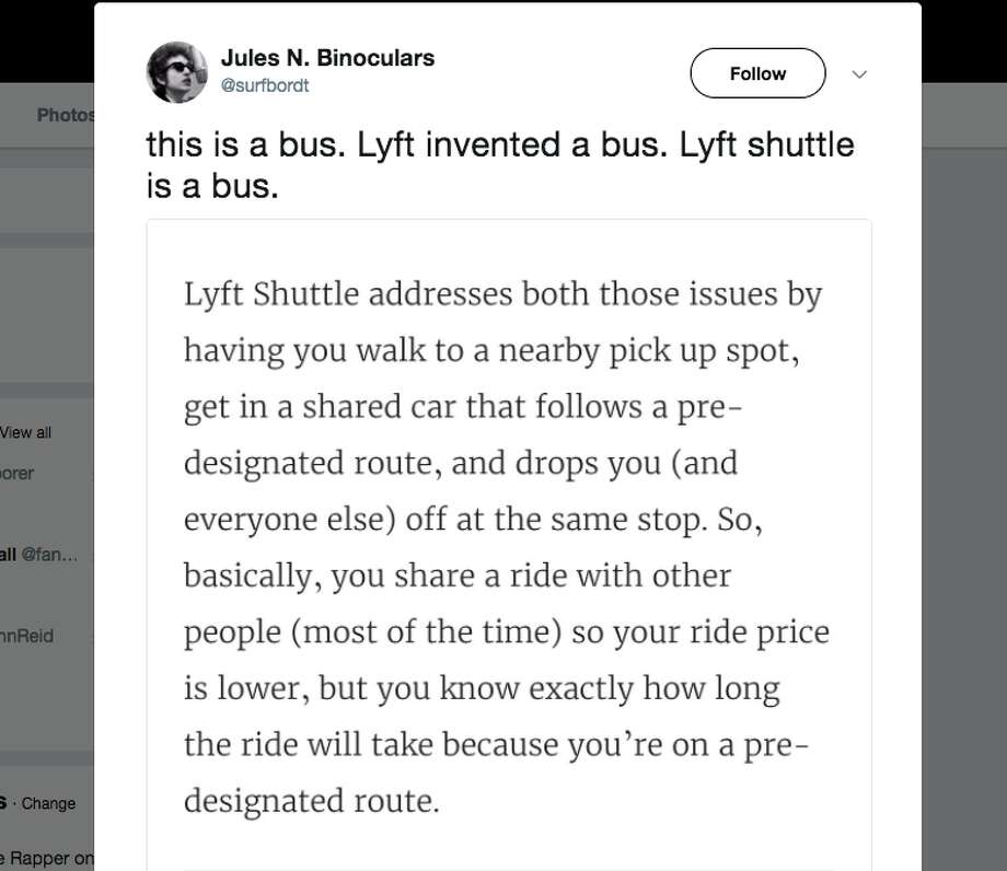 Twitter users call out Lyft for its new Shuttle service. Photo: @surfbordt/Twitter