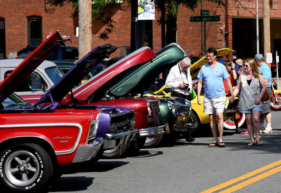 Mohawk Avenue is filled with automotive muscle for the Cruisin' on the Avenue car show on Sunday, June 18, 2017, in Scotia, N.Y. The 19th annual show featured classic cars dating from the '50s to present. (Will Waldron/Times Union) Photo: Will Waldron, Albany Times Union / 20040813A