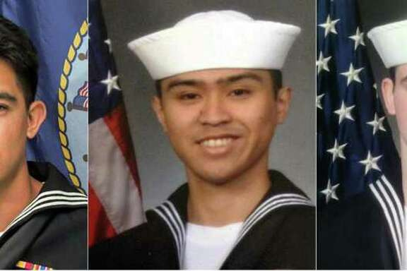 """(COMBO) This combination of pictures created on June 19, 2017 shows photos released by the US Navy's 7th Fleet of the seven sailors onboard the USS Fitzgerald who died in the June 16, 2017, collision with the container ship ACX Crystal off Japan's Pacific coast.  The US Navy on June 19, 2017, identified all seven sailors killed after their destroyer was partially flooded following the collision. (L-R) Noe Hernandez, Xavier Alec Martin, Shingo Alexander Douglass, Carlos Victor Ganzon Sibayan, Dakota Kyle Rigsby, Ngoc T Truong Huynh, and Gary Leo Rehm Jr. / AFP PHOTO / Commander, US 7th Fleet / HO / RESTRICTED TO EDITORIAL USE - MANDATORY CREDIT """"AFP PHOTO / Commander, US 7th Fleet"""" - NO MARKETING NO ADVERTISING CAMPAIGNS - DISTRIBUTED AS A SERVICE TO CLIENTS  HO/AFP/Getty Images"""