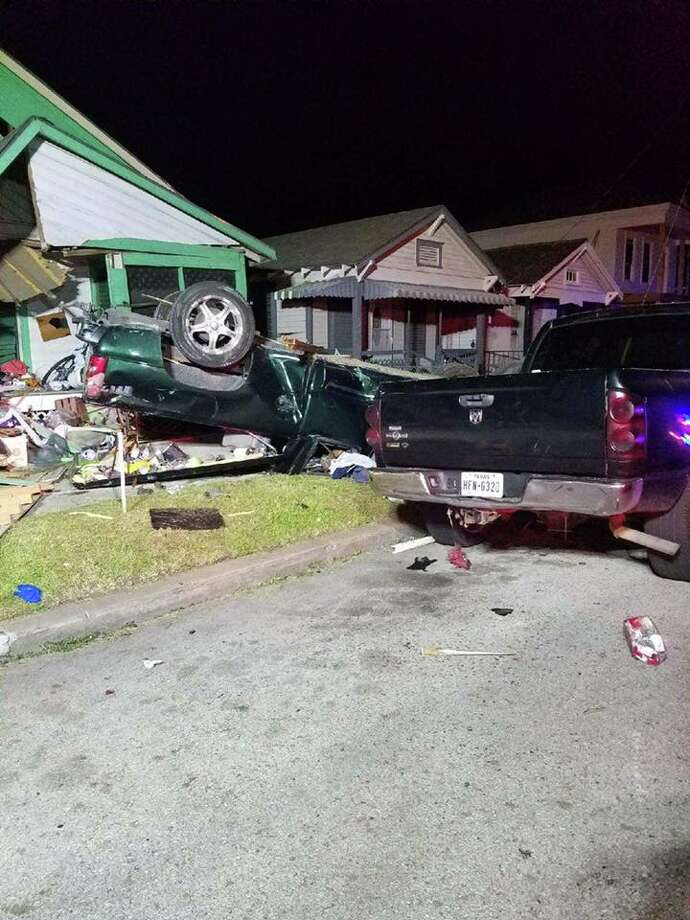 A 13-year-old driver was killed early Sunday, June 18, in Galveston when he apparently crashed a pickup truck into a home near the intersection of Avenue K and 28th Street. Photo: Galveston County Health District EMS/Facebook
