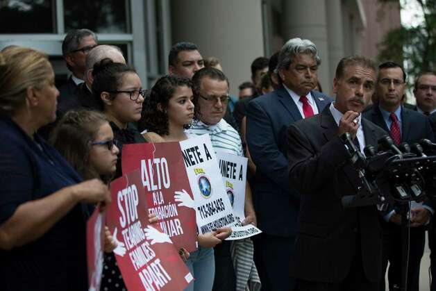 David Calvillo, one of the attorneys representing the Rodriguez family, speaks to the members of the press about the lawsuit against the federal government filed, Monday, June 19, 2017, in Houston. Photo: Marie D. De Jesus, Houston Chronicle / © 2017 Houston Chronicle