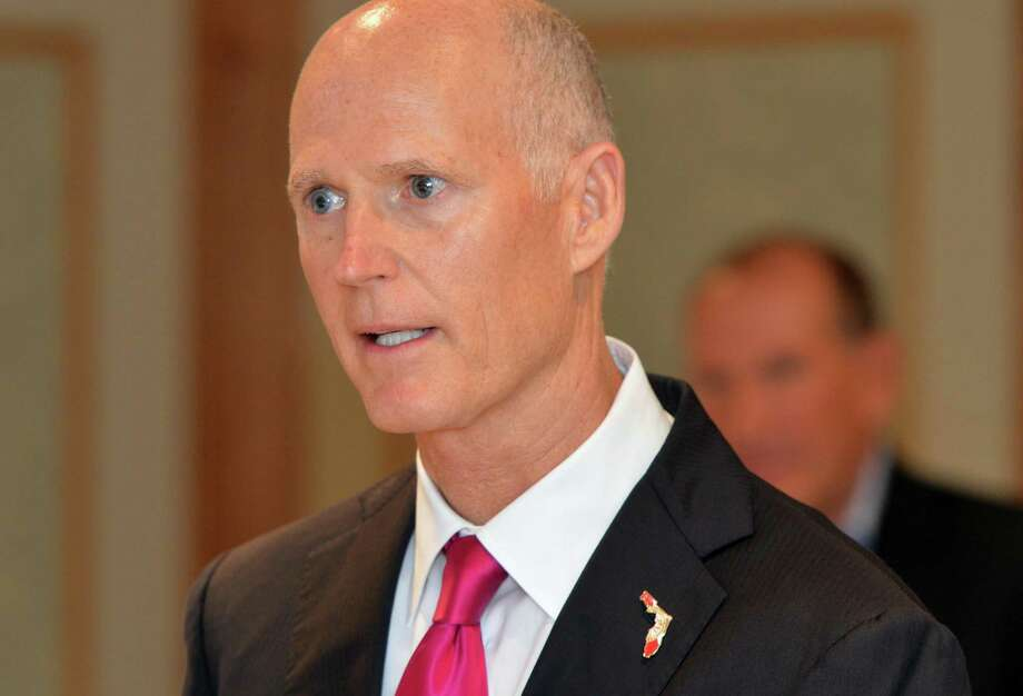Florida Governor Rick Scott speaks during a meeting hosted by Bart Shuldman and the group Fiscal Impact at The Norwalk Inn on Monday June 19, 2017 in Norwalk Conn. Governor Scott spoke about moving Connecticut companies to Florida and the state of the budget here during his visit to Norwalk. Photo: Alex Von Kleydorff / Hearst Connecticut Media / Norwalk Hour