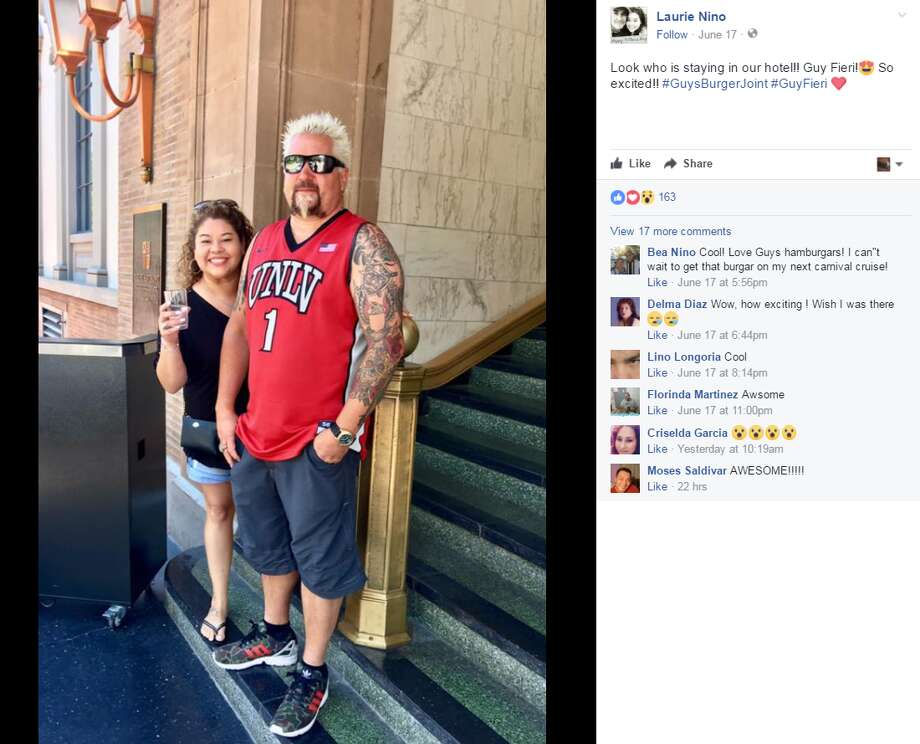 Laurie Nino: Look who is staying in our hotel!! Guy Fieri! Photo: Facebook.com, Twitter.com