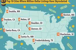 Take a look at the slideshow ahead to see the cities where seven-figure listings have skyrocketed.