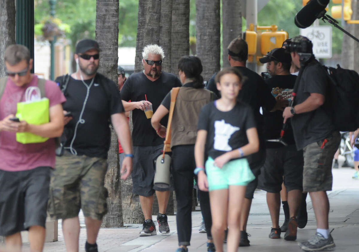 Food Network star Guy Fieri stolid through downtown San Antonio with a film crew Monday afternoon. Fiery has visited several spots in the Southwest United States in recent weeks and has posted about it on social media using the hashtag #GuysFamilyRoadTrip.