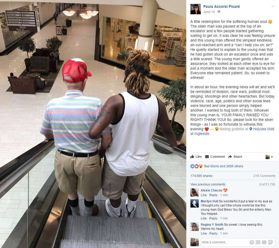 Paula Accorsi Picard of Massachusetts shared a moving photo to Facebook about a young man helping an elderly man that has since gone viral. Continue clicking to see brilliant ways you can brighten someone's day with simple acts of kindness.Source: Facebook Photo: Paula Accorsi Picard