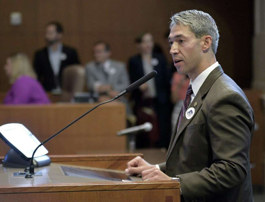 San Antonio Mayor-elect Ron Nirenberg speaks during a hearing regarding the state's annexation law, held by the Texas House of Representatives Defense and Veterans Affairs Committee on June 19, 2017, in the San Antonio City Council Chambers. Photo: Darren Abate /For The San Antonio Express-News / San Antonio Express-News