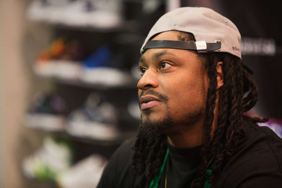 Oakland Raiders Running Back Marshawn Lynch attends in store appearance for the launch of BEASTMODE x PSD at Champs at Bellevue Square on November 13, 2015 in Bellevue, Washington. (Photo by Mat Hayward/Getty Images for PSD Underwear)