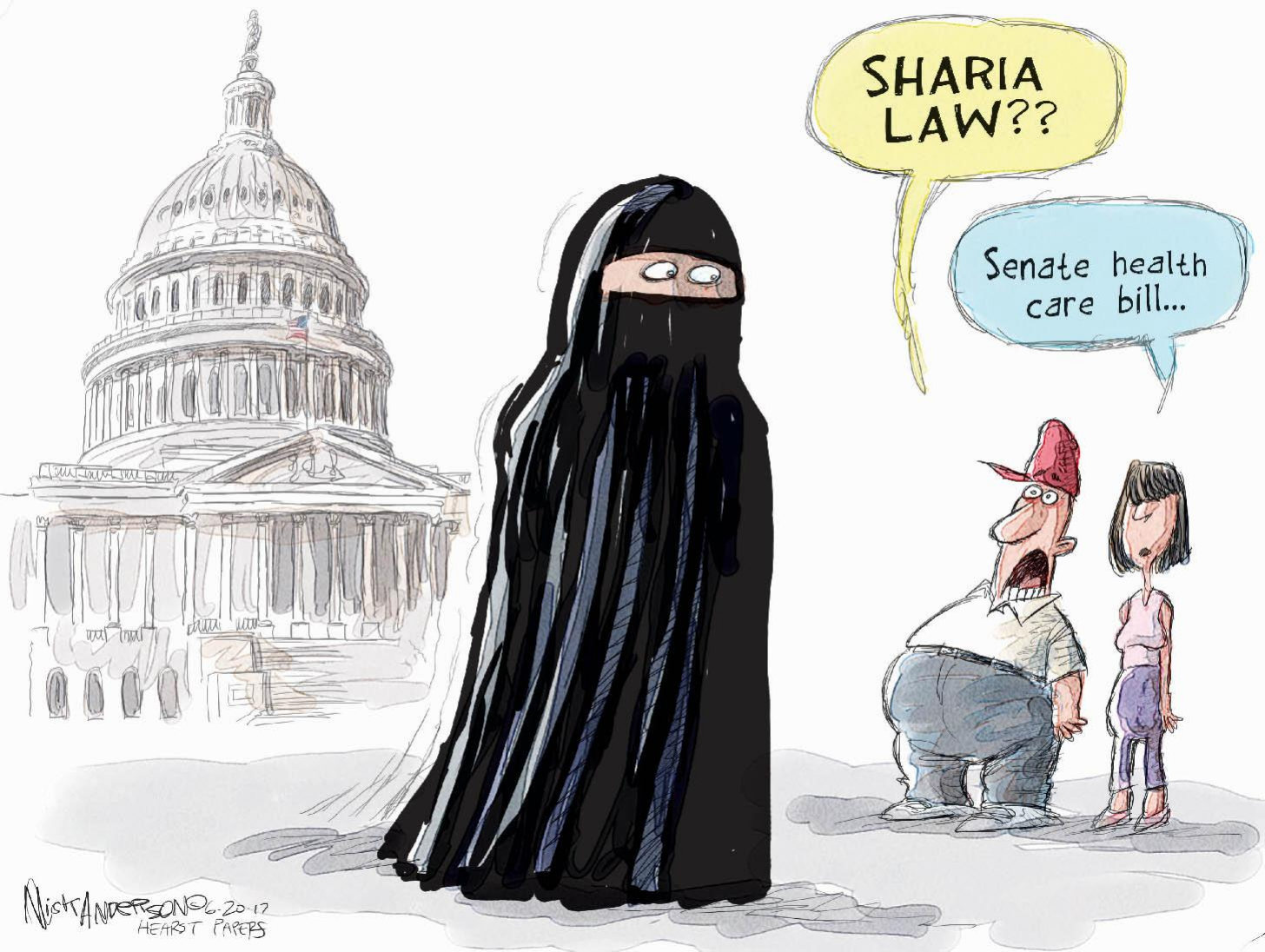Picture of what appears to be a Muslim woman in full niqab. Man asks,