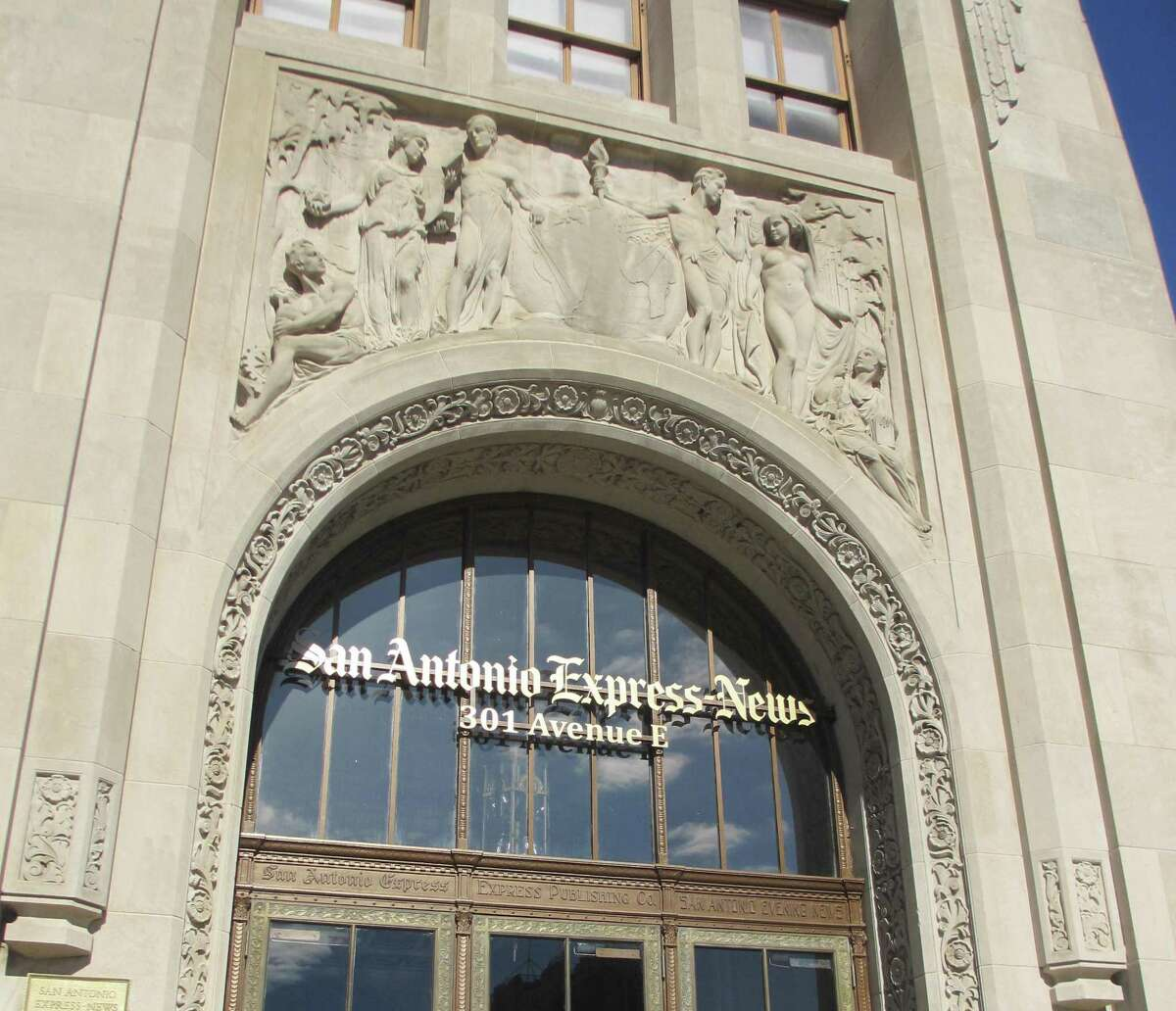 Pompeo Coppini's frieze above the main entrance of the San Antonio Express-News building allegorically sets forth the mission of a newspaper. The figure of Knowledge (third from the left) points to Texas on the globe.