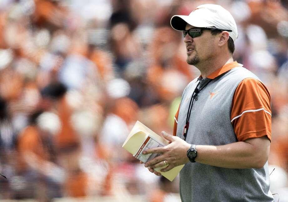 Texas coach Tom Herman looks on during the Orange-White spring game in Austin on April 15, 2017. Photo: Ricardo B.Brazziell /Austin American-Statesman / Austin American-Statesman