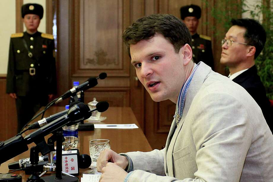 FILE - In this Feb. 29, 2016, file photo, American student Otto Warmbier speaks as he is presented to reporters in Pyongyang, North Korea. More than 15 months after he gave a staged confession in North Korea, he is with his Ohio family again. But whether he is even aware of that is uncertain. (AP Photo/Kim Kwang Hyon, File) Photo: Kim Kwang Hyon, STF / Copyright 2017 The Associated Press. All rights reserved.