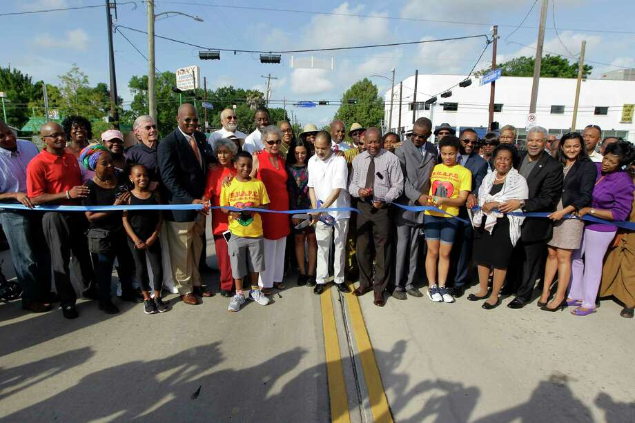 Garnet Coleman and Mayor Sylvester Turner at the dedication ceremony for Emancipation Avenue, formerly named Dowling Street, in Third Ward. Photo: Steve Gonzales, Staff / © 2017 Houston Chronicle