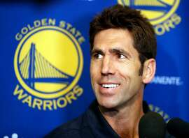Golden State Warriors' Bob Myers talks at Warriors' practice facility in Oakland, Calif., on Monday, June 19, 2017.