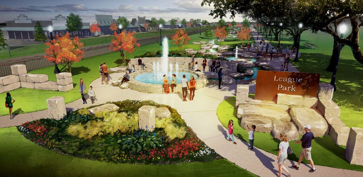 A rendering shows a conceptual view of League Park after renovations.
