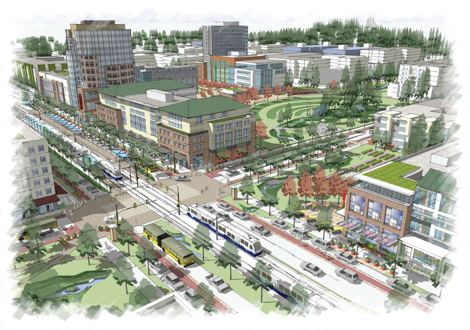 This rendering shows the planned light rail station at 130th Avenue and Northeast Spring Boulevard, also known as the BelRed East Link Light Rail station. Part of this development will be paid for with the federal loan. Photo: Courtesy City Of Bellevue