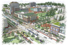 This rendering shows the planned light rail station at 130th Avenue and Northeast Spring Boulevard, also known as the BelRed East Link Light Rail station. Part of this development will be paid for with the federal loan.