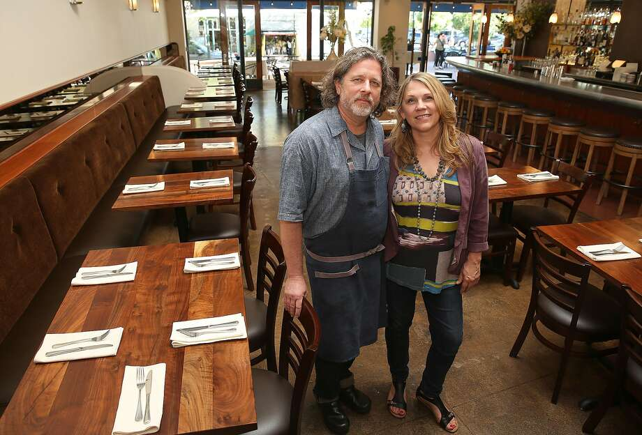 Chef David Visick with his wife Caramia at Pompette in Berkeley. Photo: Liz Hafalia, The Chronicle