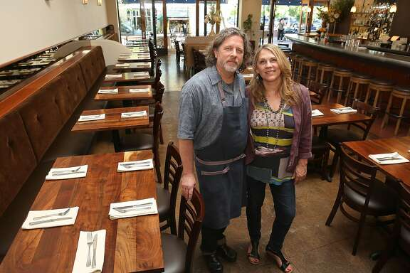 Chef David Visick with his wife Caramia at Pompette on Wednesday, June 14, 2017, in Berkeley, Calif.