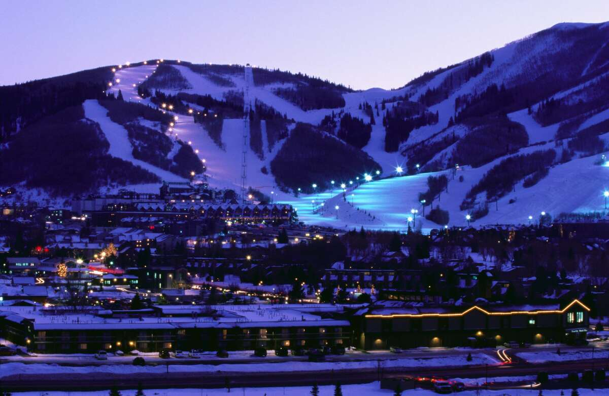 Park City, Utah appears at nightfall.