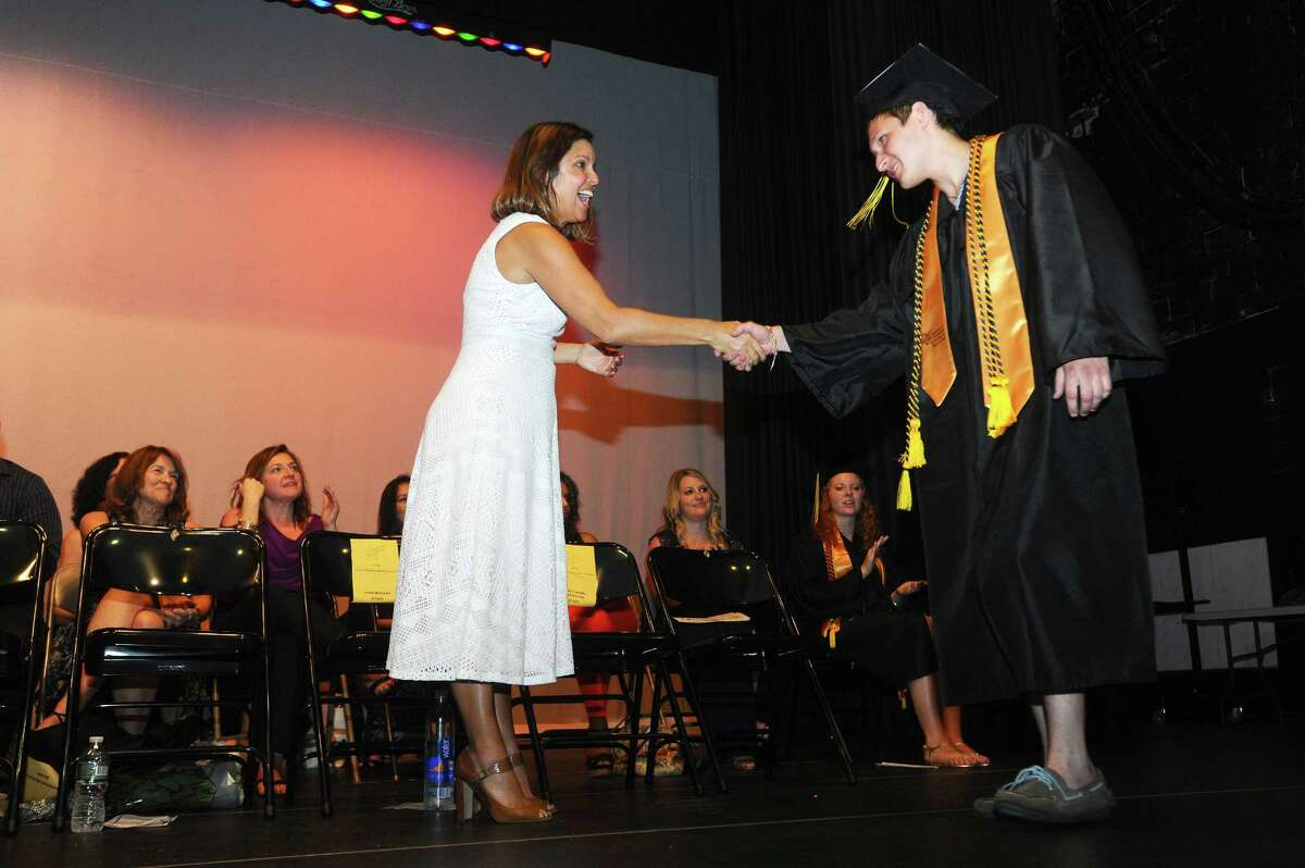 Photos from the Academy of Information Technology and Engineering (AITE) graduation inside the Rippowam Middle School auditorium in Stamford, Conn. on Monday, June 19, 2017.