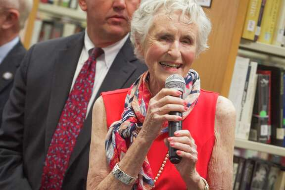 Jan Coggeshall speaks to guests at the 20th anniversary of the Galveston College Foundation last year. Coggeshall, Galveston's first female mayor, died Monday after a battle with cancer. She was 81