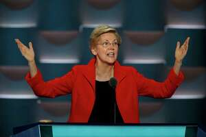 Sen. Elizabeth Warren (D-Mass.) speaks passionately on the first night of the Democratic National Convention on July 25, 2016. Her potential run at the presidency in 2020 has already drawn the attention of GOP foes. (Carolyn Cole/Los Angeles Times/TNS)