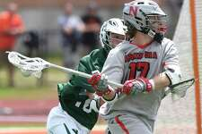 Niskayuna's Lucas Quinn (17) scores against Yorktown during a Regional Class B boys high school lacrosse game in Rotterdam, N.Y., Saturday, June 3, 2017. Yorktown won 12-11. (Hans Pennink / Special to the Times Union) ORG XMIT: HP120