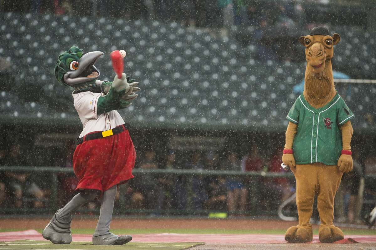 Lou E. Loon takes a swing as Rall E. Camel watches during a rain delay in the Midwest League Home Run Derby on Monday, June 19, 2017 at Dow Diamond.