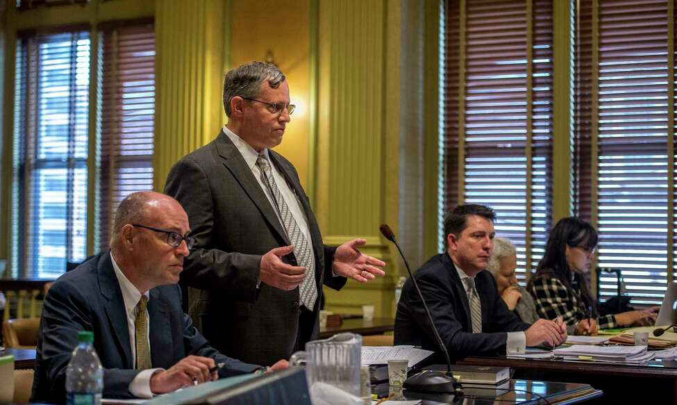 John C. Graham, assistant counsel, Office of General Counsel for the Public Service Commission presents his side of a case in which an anti nuclear coalition is suing to halt the governor's subsidy for northern New York nuclear plants Monday June 19, 2017 in Albany, N.Y. (Skip Dickstein/Times Union)