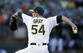 Oakland Athletics pitcher Sonny Gray works against the New York Yankees during the first inning of a baseball game Thursday, June 15, 2017, in Oakland, Calif. (AP Photo/Ben Margot)
