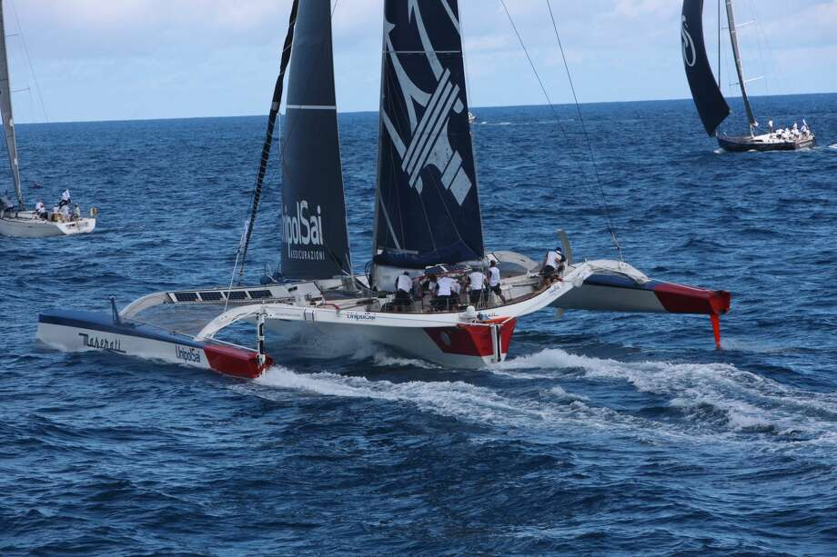 Maserati Multi70 at the start of the 2017 RORC Caribbean 600 Race in February, its last race before coming to the West Coast to prepare for the July Transpac. Image credit Tim Wright. Photo: Tim Wright