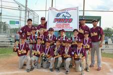 The Deer Park Pinto All-Stars raise the Section 5 championship banner Monday night, following the team's 11-1 win over Pasadena.