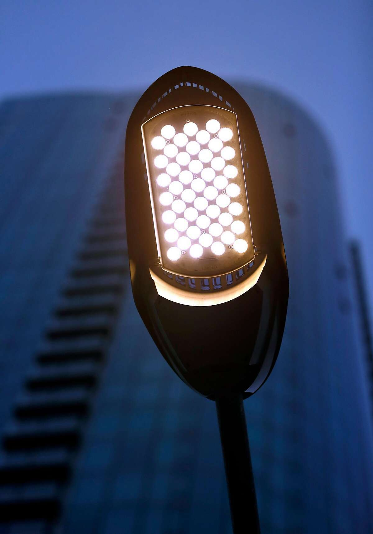 LED streetlight on Harrison Street in San Francisco, Calif., on Monday, June 19, 2017.